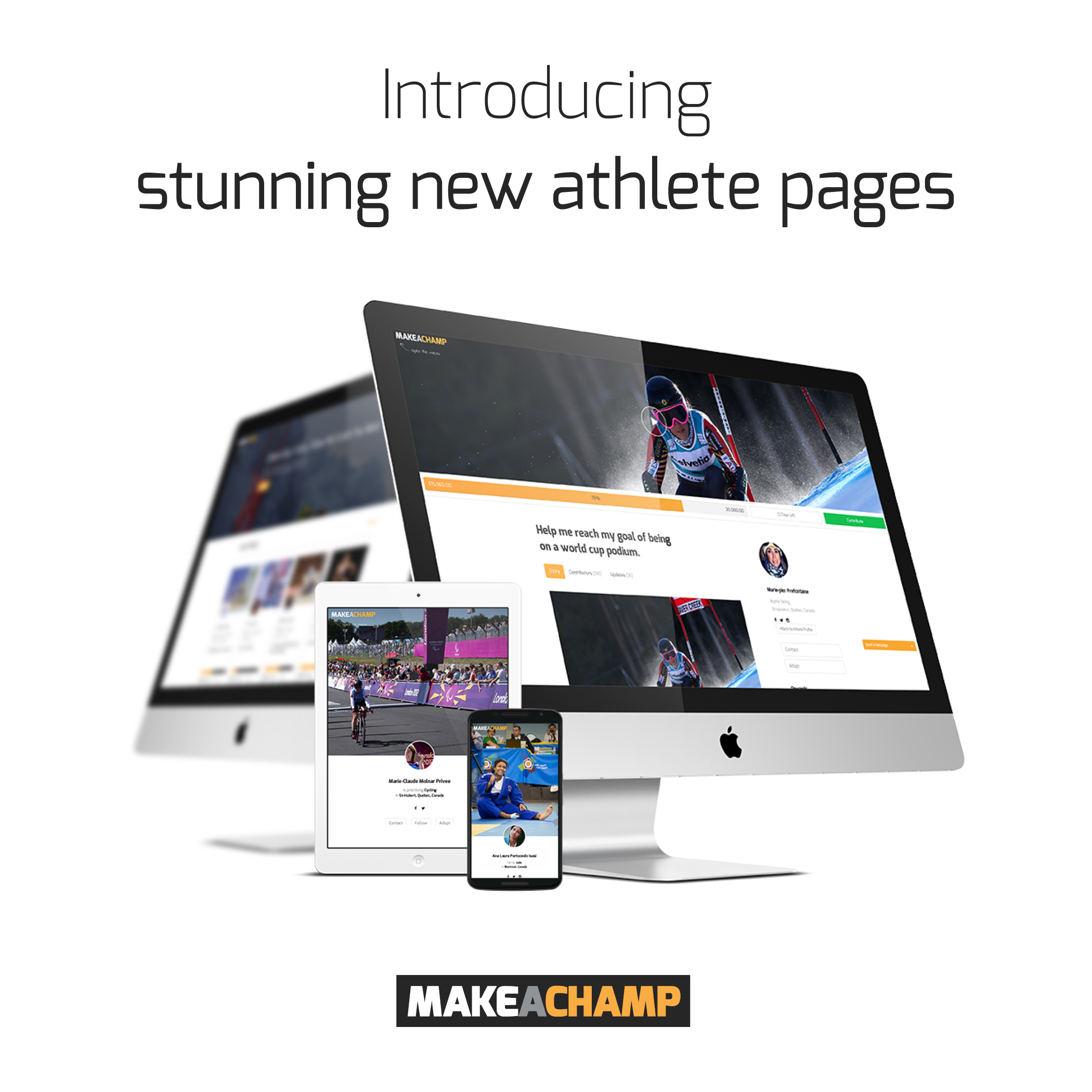introducing new athlete pages at sports crowdfunding platform MAKEACHAMP